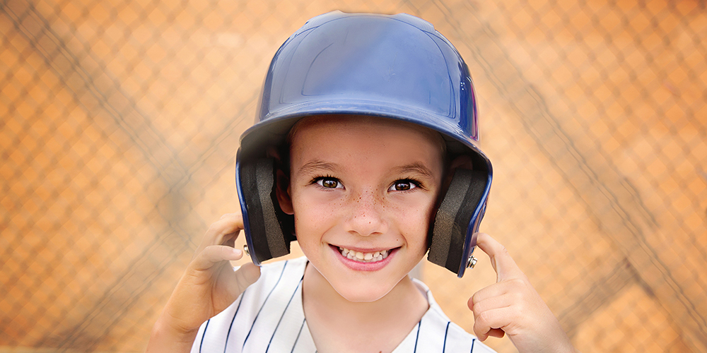 bb player with a helmet